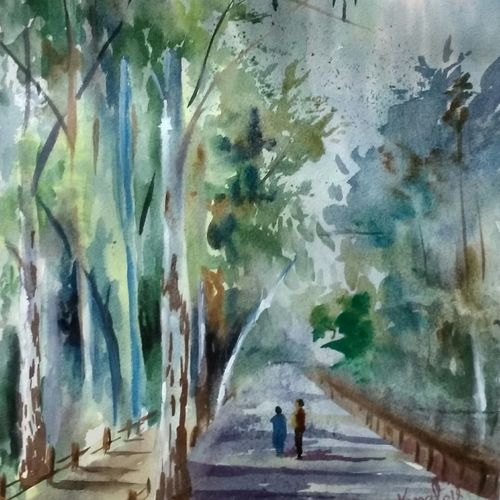 boulevard in vrindavan, 12 x 18 inch, kunal pal,paintings,abstract paintings,cityscape paintings,landscape paintings,nature paintings,abstract expressionist paintings,art deco paintings,expressionist paintings,impressionist paintings,street art,paintings for dining room,paintings for living room,paintings for bedroom,paintings for office,paintings for bathroom,paintings for kids room,paintings for hotel,paintings for kitchen,paintings for school,paintings for hospital,canson paper,watercolor,12x18inch,GAL0905418330Nature,environment,Beauty,scenery,greenery