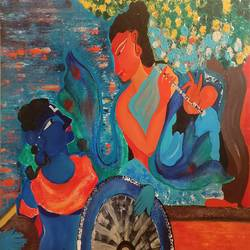 geet govind, 48 x 32 inch, nishant mishra,paintings for dining room,paintings for living room,paintings for bedroom,paintings for office,paintings for kids room,paintings for hotel,radha krishna paintings,canvas,acrylic color,48x32inch,GAL0538618336,radhakrishna,love,pece,lordkrishna,,lordradha,peace,flute,music,radha,krishna