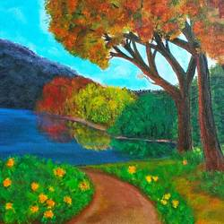 fall colors, 10 x 12 inch, reji  r,paintings,landscape paintings,canvas,acrylic color,10x12inch,GAL0899218345