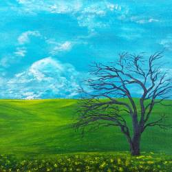 one tree hill, 12 x 16 inch, reji  r,paintings,landscape paintings,canvas,acrylic color,12x16inch,GAL0899218346