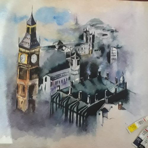early morning in london, 18 x 22 inch, neeti dwivedi ,paintings,figurative paintings,cityscape paintings,still life paintings,expressionist paintings,paintings for dining room,paintings for living room,paintings for bedroom,paintings for office,paintings for kids room,paintings for hotel,paintings for school,paintings for hospital,handmade paper,watercolor,18x22inch,GAL0916718382