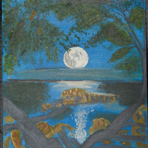 full moon, 12 x 15 inch, saradha devi prabhakaran,paintings,landscape paintings,paintings for living room,paintings for office,paintings for school,canvas board,acrylic color,12x15inch,GAL0798818388