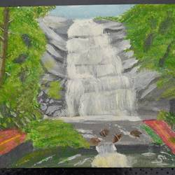 silvery falls, 12 x 10 inch, saradha devi prabhakaran,paintings,nature paintings,paintings for living room,paintings for bathroom,paintings for hotel,canvas board,acrylic color,12x10inch,GAL0798818390Nature,environment,Beauty,scenery,greenery