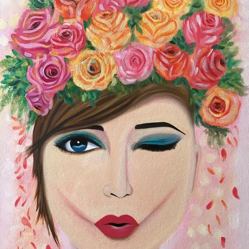 girl with roses !!, 18 x 24 inch, amita dand,paintings,portraiture,paintings for living room,paintings for bedroom,paintings for hotel,canvas board,oil,18x24inch,GAL0146718392