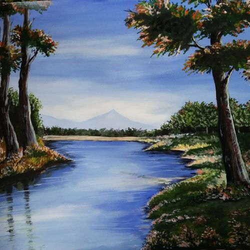 the lost paradise, 23 x 33 inch, himangshu  mudoi,landscape paintings,paintings for living room,ivory sheet,acrylic color,23x33inch,GAL066184