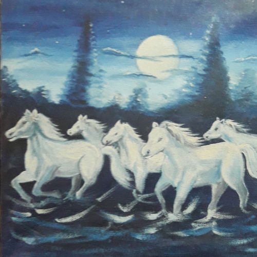 horse painting , 12 x 10 inch, sree vidhya,paintings,animal paintings,love paintings,horse paintings,paintings for living room,paintings for office,paintings for hotel,paintings for living room,paintings for office,paintings for hotel,canvas,oil,12x10inch,GAL0921718401