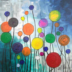 colour circles, 18 x 18 inch, pooja dhuri,paintings,abstract paintings,canvas,acrylic color,18x18inch,GAL0923018412