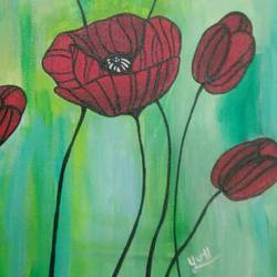 red flowers, 14 x 18 inch, pooja dhuri,paintings,abstract paintings,canvas,acrylic color,14x18inch,GAL0923018414