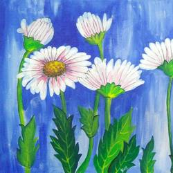 white flower s, 16 x 16 inch, pooja dhuri,paintings,abstract paintings,canvas,acrylic color,16x16inch,GAL0923018418