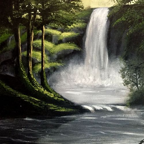 misty falls , 16 x 20 inch, simon  fernando,nature paintings,paintings for living room,canvas,acrylic color,16x20inch,GAL07351842Nature,environment,Beauty,scenery,greenery