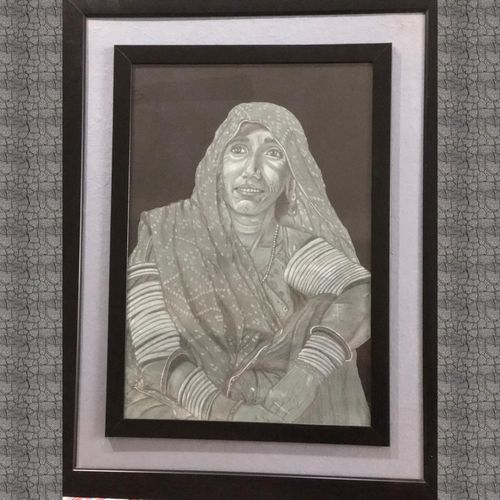 old indian traditional lady, 18 x 24 inch, priyanka jain,folk drawings,paintings for dining room,paintings for living room,paintings for bedroom,paintings for office,paintings for kids room,paintings for hotel,paintings for kitchen,paintings for school,paintings for hospital,handmade paper,graphite pencil,18x24inch,GAL0920518424
