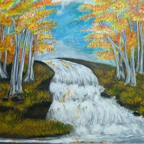 water fall and autumn, 30 x 24 inch, roshni shajahan,paintings,nature paintings,paintings for dining room,paintings for living room,paintings for bedroom,paintings for office,paintings for dining room,paintings for living room,paintings for bedroom,paintings for office,canvas,acrylic color,30x24inch,GAL0923618426Nature,environment,Beauty,scenery,greenery