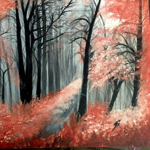 misty forest , 18 x 24 inch, simon  fernando,nature paintings,paintings for bedroom,canvas,acrylic color,18x24inch,GAL07351843Nature,environment,Beauty,scenery,greenery