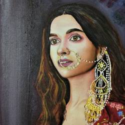 deepika padukone, 12 x 16 inch, abhineet sharma,paintings,figurative paintings,portrait paintings,portraiture,paintings for dining room,paintings for living room,paintings for bedroom,canvas,oil,12x16inch,actress,bollywood,padmavati,GAL0873818431