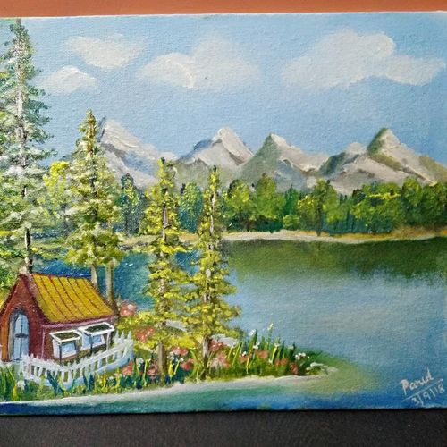 chalet by the lake, 12 x 10 inch, parul mathur,paintings,landscape paintings,nature paintings,paintings for dining room,paintings for living room,paintings for bedroom,paintings for office,paintings for bathroom,paintings for kids room,paintings for hotel,paintings for kitchen,paintings for school,paintings for hospital,canvas board,oil,12x10inch,GAL0602518432Nature,environment,Beauty,scenery,greenery