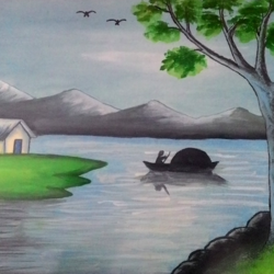 peace and evening, 16 x 12 inch, abhineet sharma,paintings,landscape paintings,nature paintings,paintings for dining room,paintings for living room,paintings for bedroom,paintings for office,paintings for hotel,paintings for kitchen,paintings for school,paintings for hospital,ply board,oil,16x12inch,GAL0873818434Nature,environment,Beauty,scenery,greenery