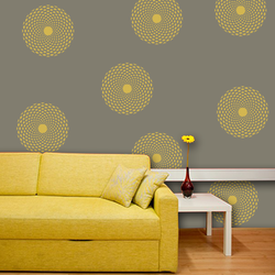 wall stencil: beautiful round flower wall design stencil , 1 stencil (size 12x12 inches) | reusable | diy, 12 x 12 inch, wall stencil designs,12x12inch,ohp plastic sheets,flower designs,plastic,GAL0118454,GAL0118454
