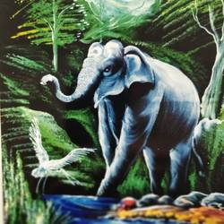 nature's pride, 24 x 30 inch, j.k  chhatwal,wildlife paintings,animal paintings,elephant paintings,paintings for dining room,paintings for living room,paintings for bedroom,paintings for office,paintings for bathroom,paintings for dining room,paintings for living room,paintings for bedroom,paintings for office,paintings for bathroom,canvas,acrylic color,24x30inch,GAL0537818465