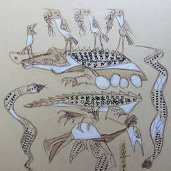 crocodile dream, 11 x 12 inch, bhaskar goswami,drawings,expressionist drawings,thick paper,mixed media,11x12inch,GAL0926018479