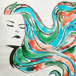 the lady, 16 x 12 inch, kartik khokhar,abstract paintings,paintings for living room,paper,watercolor,16x12inch,GAL07381848
