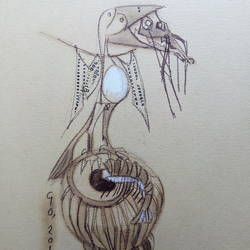 sounds bird, 11 x 12 inch, bhaskar goswami,drawings,expressionist drawings,thick paper,mixed media,11x12inch,GAL0926018480