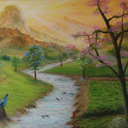 beautiful morning, 36 x 24 inch, goutami mishra,paintings,landscape paintings,nature paintings,impressionist paintings,paintings for living room,paintings for bedroom,paintings for hotel,paintings for school,paintings for living room,paintings for bedroom,paintings for hotel,paintings for school,canvas,oil,36x24inch,GAL046518485Nature,environment,Beauty,scenery,greenery