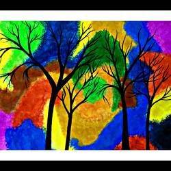 colourful forest, 28 x 16 inch, huma sadiya,nature paintings,paintings for bedroom,thick paper,watercolor,28x16inch,GAL05631854Nature,environment,Beauty,scenery,greenery