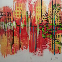 Red abstract art print by Gallerist