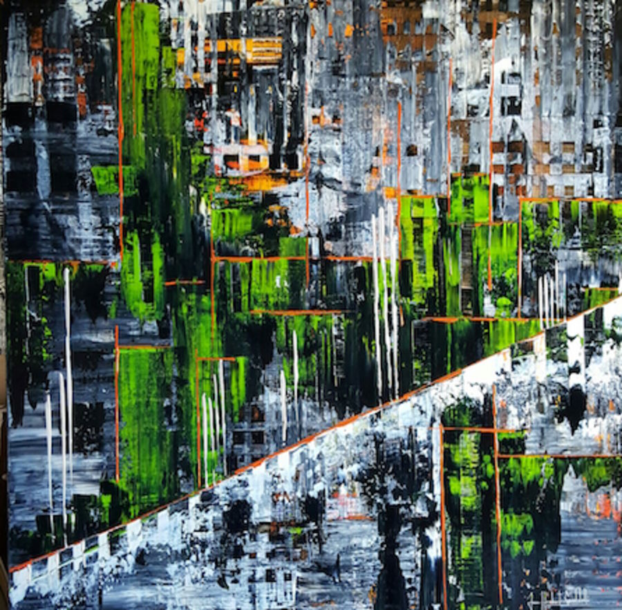 Green with black abstract