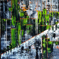 Green with black abstract art print by Gallerist