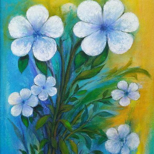 white flowers, 13 x 24 inch, a.b.  kaser,flower paintings,paintings for living room,canvas,acrylic color,13x24inch,GAL06361859