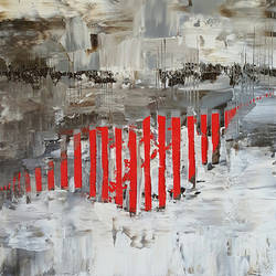 Glossy red line abstract art print by Gallerist