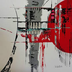 Red with grey abstract art print by Gallerist