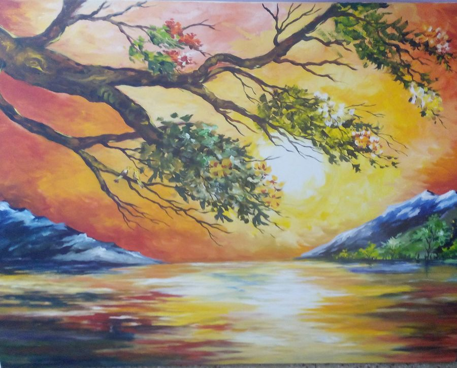 beautification of nature, 30 x 40 inch, deeksha sharma,landscape paintings,paintings for bedroom,canvas,acrylic color,30x40inch,GAL070186
