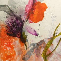 Orange flower abstract art print by Gallerist