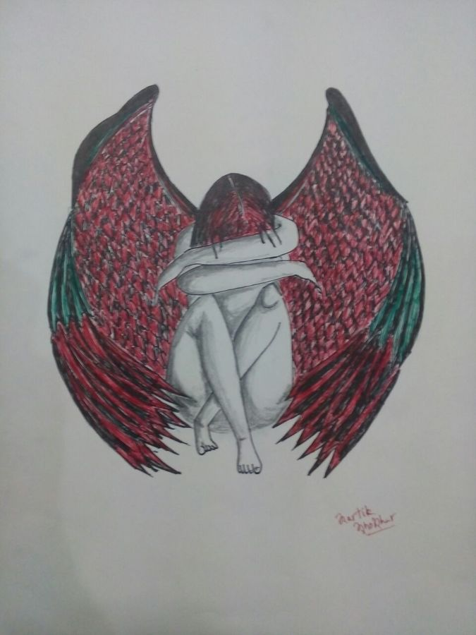 the fallen angel, 12 x 16 inch, kartik khokhar,conceptual paintings,paintings for living room,paper,ball point pen,12x16inch,GAL07381861