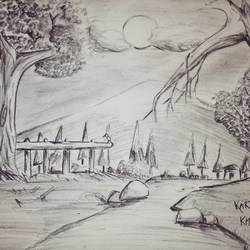 landscape, 16 x 12 inch, kartik khokhar,paintings for living room,illustration drawings,paper,charcoal,16x12inch,GAL07381862