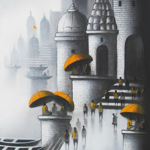 holy banaras, 12 x 18 inch, somnath bothe,landscape paintings,paintings for living room,canvas,charcoal,12x18inch,GAL07331865