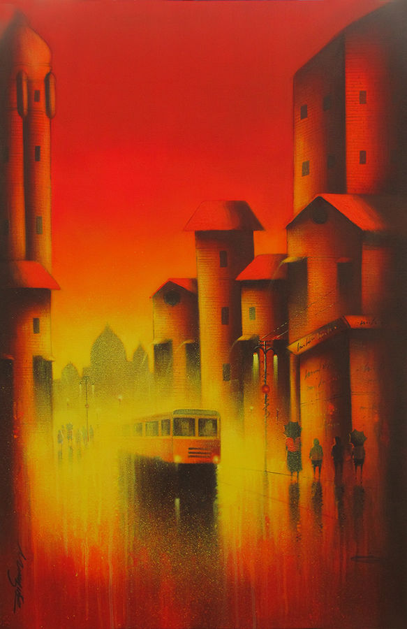 red composition, 24 x 36 inch, somnath bothe,landscape paintings,paintings for living room,canvas,acrylic color,24x36inch,GAL07331866