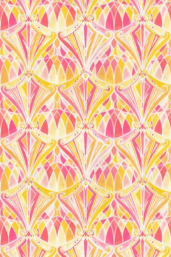 Glossy pink mix with yellow abstract