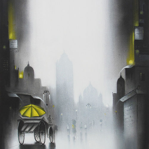 monsoon ride , 18 x 30 inch, somnath bothe,landscape paintings,paintings for living room,canvas,charcoal,18x30inch,GAL07331867