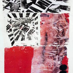 Black mix with red shade abstract art print by Gallerist
