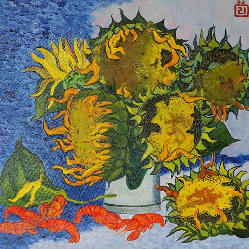 sunflowers and crayfish, 21 x 28 inch, moesey li,still life paintings,paintings for dining room,paintings,canvas,oil paint,21x28inch,GAL07181869