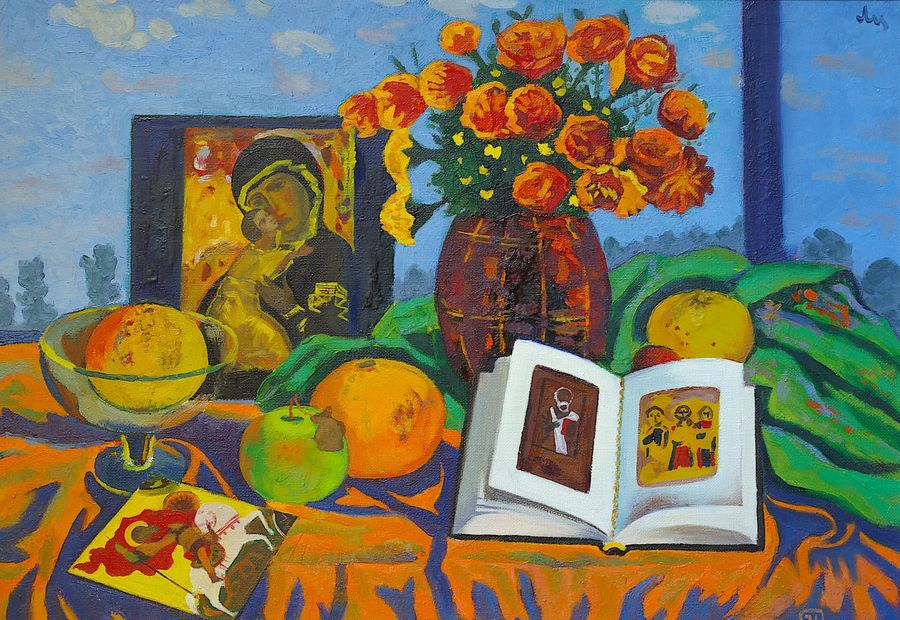 still life with an icon, 23 x 32 inch, moesey li,religious paintings,paintings for bedroom,paintings,canvas,oil paint,23x32inch,GAL07181870