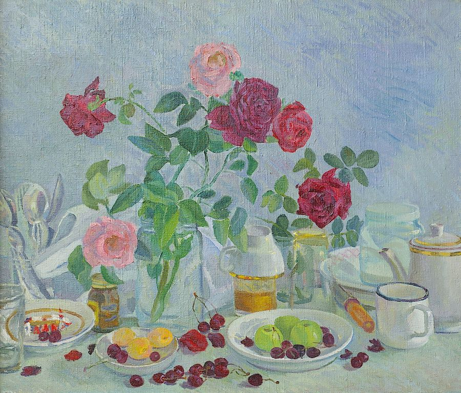 roses on my table, 28 x 24 inch, moesey li,still life paintings,paintings for dining room,love paintings,canvas,oil paint,28x24inch,GAL07181872