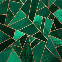 Green cube abstract art print by Gallerist
