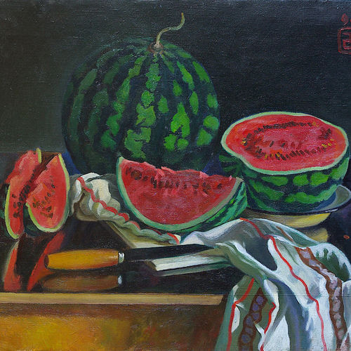 watermelon, 25 x 20 inch, moesey li,still life paintings,paintings for dining room,paintings,canvas,oil paint,25x20inch,GAL07181874