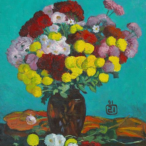 flowers from my dacha, 18 x 22 inch, moesey li,flower paintings,paintings for living room,paintings,canvas,oil paint,18x22inch,GAL07181875