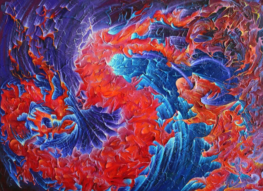 Glossy red with blue shade abstract