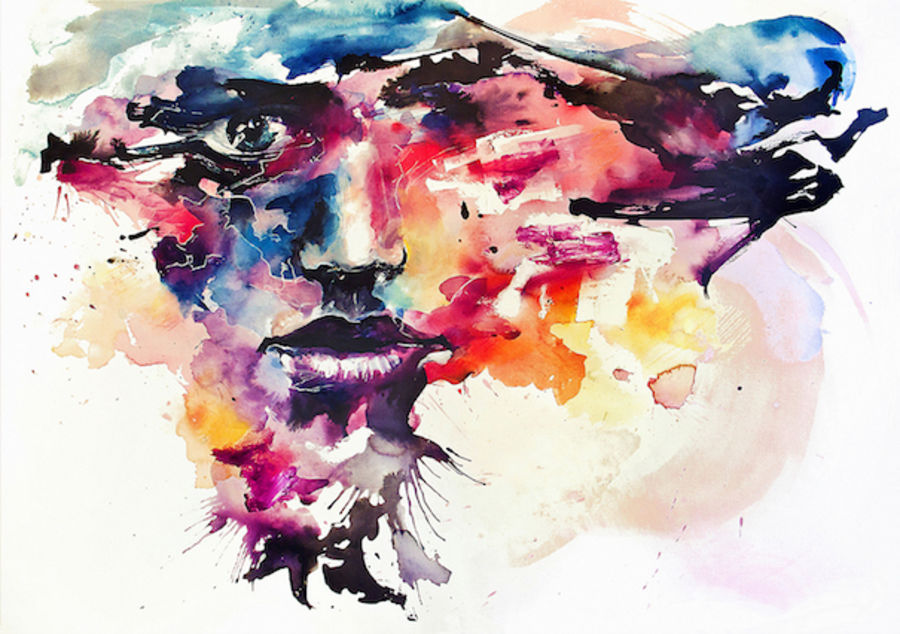 Beautiful mix color face abstract